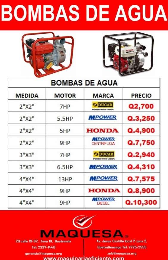 Bombas de agua de distintas capacidades