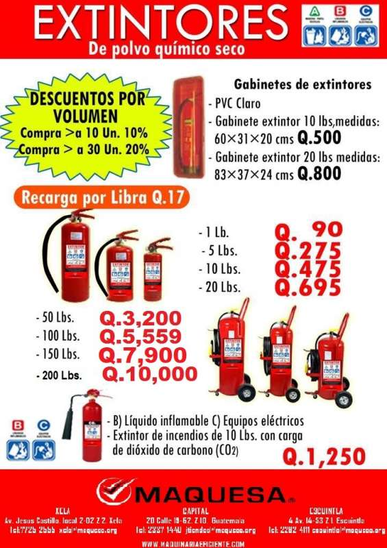 Extintores de 1 libra a 200 lbs